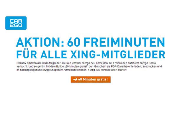 car2go verschenkt 60 Freiminuten für alle Xing-Mitglieder